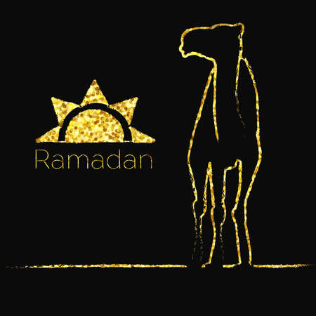 saluto di Ramadan con cammello, biglietto di auguri islamica per il Ramadan Kareem con l'oro luccica Vector Vettoriali