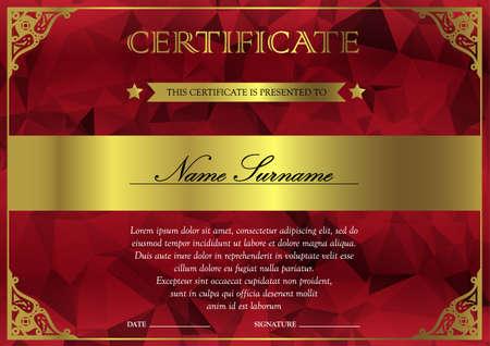 Horizontal Rot-Gold-Zertifikat und Diplom-Vorlage mit vintage, floral, filigran und niedlich Muster für die Gewinner für Leistung. Blank preis Coupon. Vektor