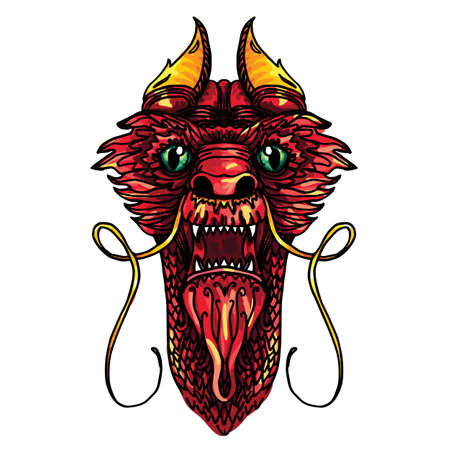 Red and Gold Dragon Head in tattoo and cartoon style. Vector Vector Illustration
