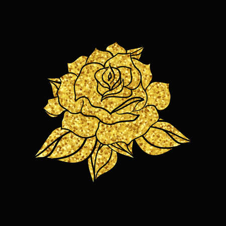 rose tattoo: Hand Drawn Gold Wedding Rose. Flower Template for wedding, holiday, celebration. Rose for print, tattoo and digital art. Vector Illustration