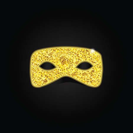 decoration decorative disguise: Magic gold mask with golden sparkles on black background. Vector