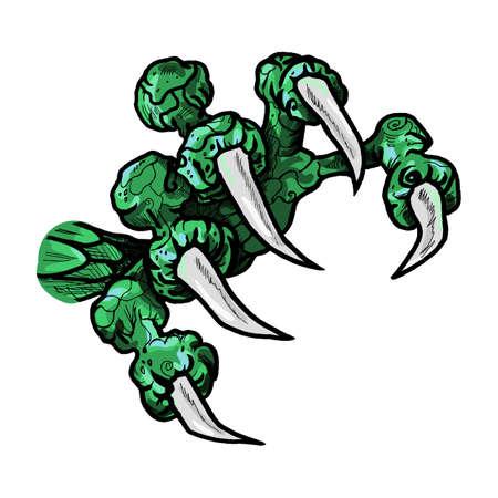 tatouage dragon: Dragon ou monstre patte avec des griffes. tatouage sauvage. autocollant d'horreur. symbole d'Halloween. art de ligne num�rique pour t-shirt, imprim�, tissu, autocollant, art. Vecteur