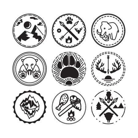 ice age: Nature and historical badges set with tiger, mountain, sun, mammoth and antique guns. Expedition and geological research sticker. Ice age. Vector