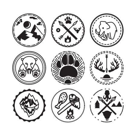 Natuur en set met tijger, berg, zon, mammoet en antieke geweren historische badges. Expeditie en geologisch onderzoek sticker. Ijstijd. Vector