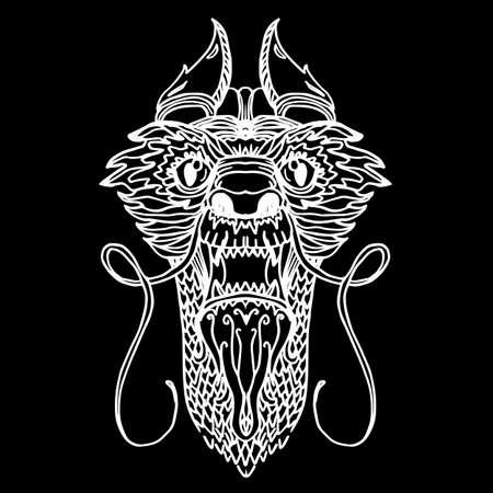 the dragons: Cabeza del drag�n en estilo del tatuaje y dibujos animados. Vector Vectores