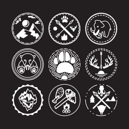 Natuur en set met tijger, berg, zon, mammoet en antieke geweren historische badges. Expeditie en geologisch onderzoek sticker. Ijstijd. Vector Vector Illustratie