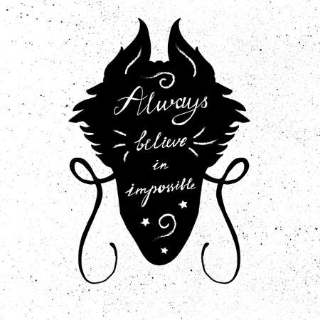 Lettering motivation poster. Quote about dream in dragon head silhouette for fabric, print, decor, greeting card. Always believe in the impossible. Vector Illustration