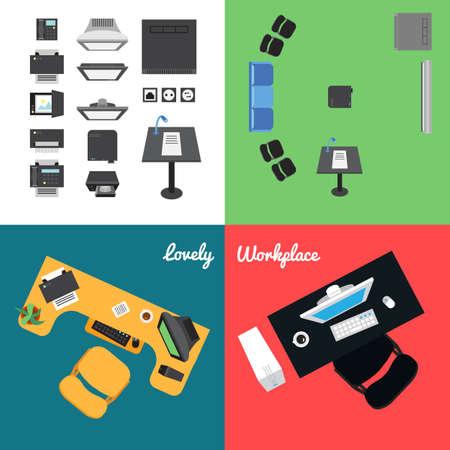 26 Office y la presentación de iconos para el lugar de trabajo y presentación. Vector Ilustración de vector