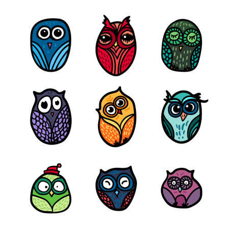 wrap: Hand  Drawn Funny Owl. Owls set for print, fabric, wrap and illustration. Vector