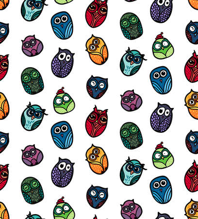 wrap: Hand  Drawn Funny Owl. Owls seamless pattern for print, fabric, wrap and illustration, game, web and childrens items. Vector