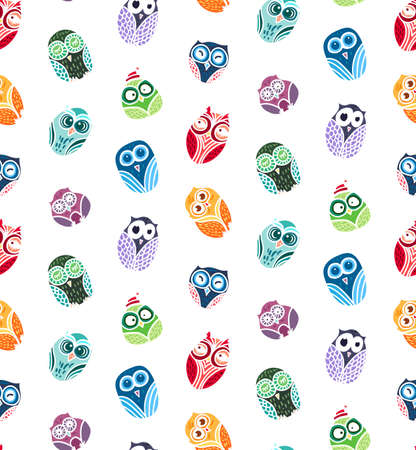 forrest: Hand  Drawn Funny Owl. Owls seamless pattern for print, fabric, wrap and illustration, game, web and childrens items. Vector
