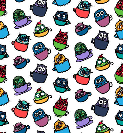 Hand  Drawn Funny Owl in Cup. Owls seamless pattern for print, fabric, wrap and illustration, game, web and children's items. Good morning or good night. Vector