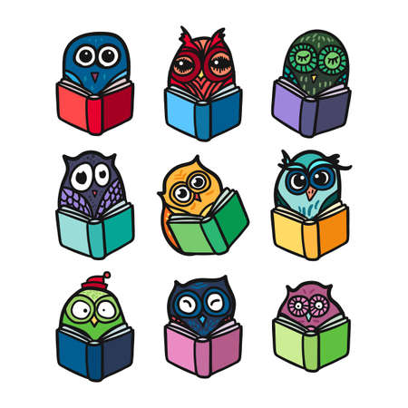 books library: Hand  Drawn Funny Owl with Book. Owls Learning subject for print, fabric, wrap and illustration, game, web and childrens items.