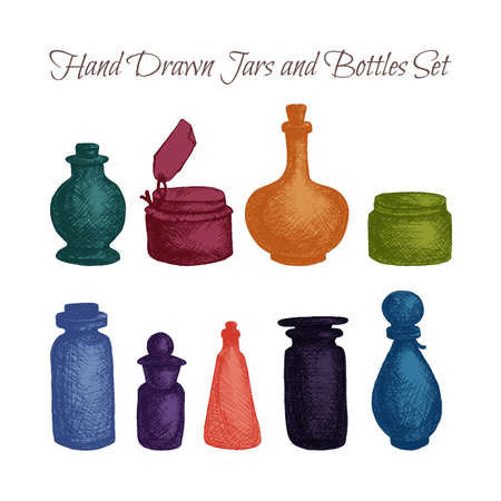 essential oil: Hand drawn isolated vintage glass jars and bottles set. Containers for jams, food and attar, otto, essential oil, oils and liquid, perfume. Print, wrap, flyer, poster. Vector
