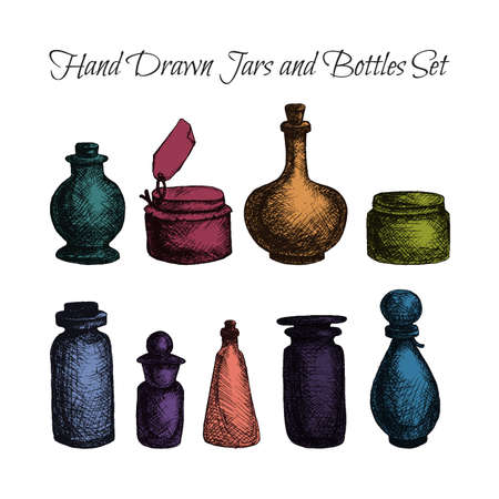 attar: Hand drawn isolated vintage glass jars and bottles set. Containers for jams, food and attar, otto, essential oil, oils and liquid, perfume. Print, wrap, flyer, poster. Vector