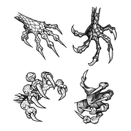 garra: Dragón o monstruo de la pata con las garras. tatuaje salvaje. pegatina de terror. símbolo de Halloween. la línea de arte digital para la camiseta, impresión, tela, etiqueta engomada, el arte. Vector Vectores