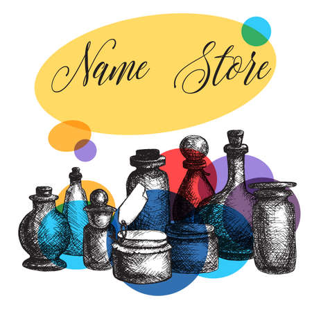 jams: Hand drawn isolated vintage glass jars and bottles set. Containers for jams, food and attar, otto, essential oil, oils and liquid, perfume. Print, wrap, flyer, poster. Vector