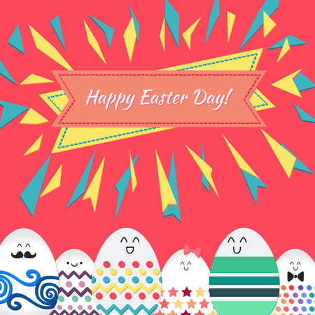 wrap: Happy easter with happy dancing, stanging and sitting eggs banner for print, wrap, fabric, greeting card. Vector