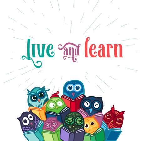school education: Hand Drawn Funny Owl with Book banner. Library, School and Education Symbol. Owls Learning subject for print, fabric, wrap and illustration, game, web and childrens items, greeting card. Vector Illustration
