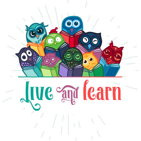 learing: Hand Drawn Funny Owl with Book banner. Library, School and Education Symbol. Owls Learning subject for print, fabric, wrap and illustration, game, web and childrens items, greeting card. Vector Illustration