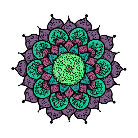 style geometric: Hand drawn Mandala in arabic, indian, islam and ottoman culture decoration style. Ethnic geometric ornamental background. Magic vintage template of greeting, card, print, cloth, tattoo. Vector Illustration