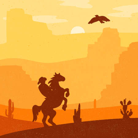 wildwest: Retro Wild West Hero on galloping horse in desert. Vintage sunset in prairie with cowboy, cacti and eagle in sky. Grunge old texture. Natural Landscape for print, poster, illustration, sticker. Vector Illustration
