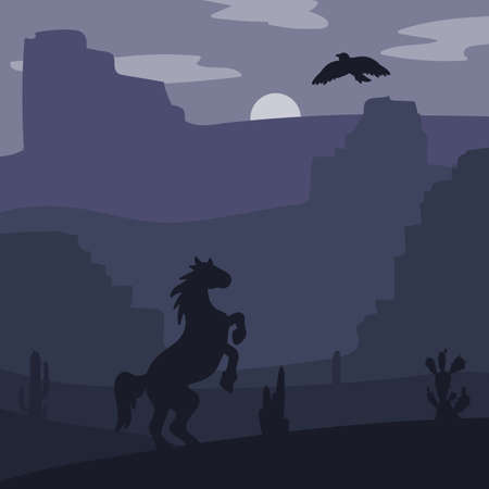 wildwest: Retro Wild West galloping horse in desert. Vintage sunset in prairie with mustang, cacti and eagle in sky. Grunge old texture. Natural Landscape for print, poster, illustration, sticker. Vector