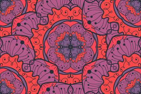 Hand drawn Mandala Seamless Pattern. Arabic, indian, turkish and ottoman culture decoration style.
