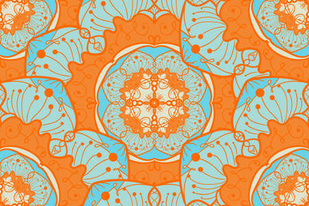 fresco: Hand drawn Mandala Seamless Pattern. Arabic, indian, turkish and ottoman culture decoration style.