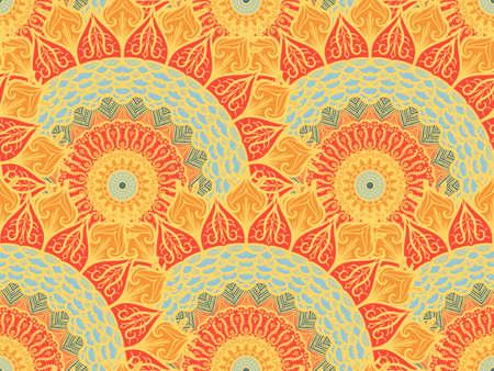 Hand drawn Mandala Seamless Pattern. Arabic, indian, turkish and ottoman culture decoration style. Ethnic ornamental background.