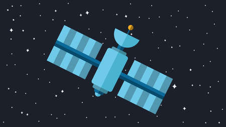 space station: Satellite Illustration. Orbiting Space Station. Modern Cosmos Satellite. Vector Illustration