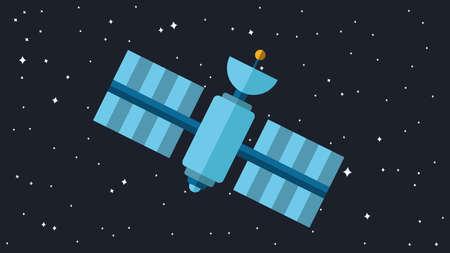 transponder: Satellite Illustration. Orbiting Space Station. Modern Cosmos Satellite. Vector Illustration