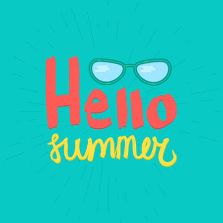 753857f6555d  55580016 - Hello Summer Lettering by brush. Typographic vacation and  travel watercolor poster with cool sunglasses. Vector