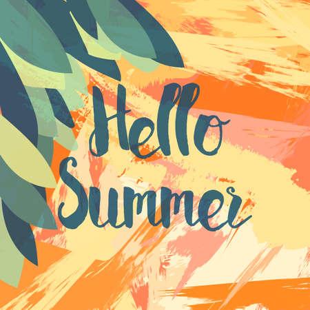 Bonjour Summer Lettrage à la brosse. vacances Typographic et voyager affiche vintage avec fond grunge lumineux et feuilles de palmier. Vecteur