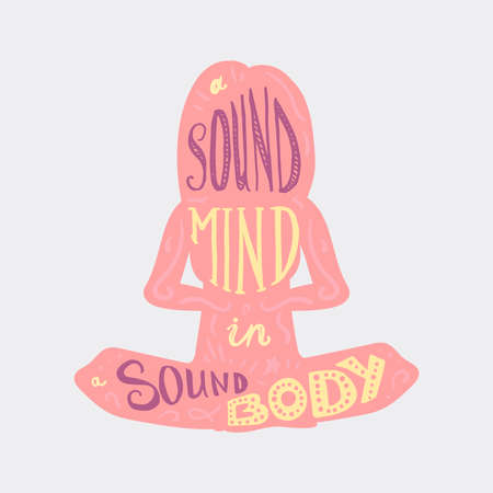 sound card: Vintage Motivational Healthcare Inspirational Sport Body and Mind Lettering in woman silhouette in lotus pose. Print, poster, gym, fitness, t-shirt, greeting card. Sound mind. Sound body. Vector