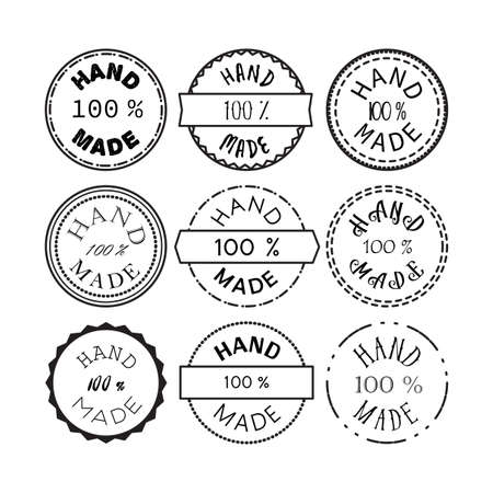 Badge template with 100 handmade product symbol. Vintage sticker with text 100 hand made. 100 Percents Hand Made Design Element, Label, Insignia, Tag, Emblem. Vector Vetores