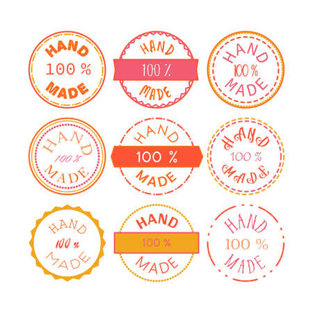Badge template with 100 handmade product symbol. Vintage sticker with text 100 hand made. 100 Percents Hand Made Design Element, Label, Insignia, Tag, Emblem. Vector