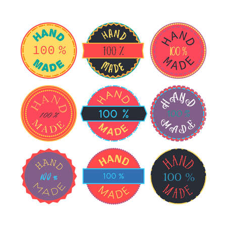 craftsperson: Badge template with 100 handmade product symbol. Vintage sticker with text 100 hand made. 100 Percents Hand Made Design Element, Label, Insignia, Tag, Emblem. Vector