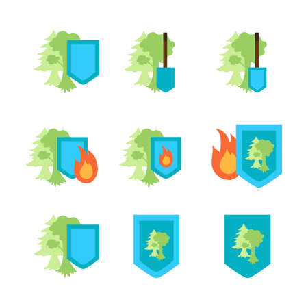 nature protection: Environment Protection Stickers Set. Ecology and nature protection icon. Vector