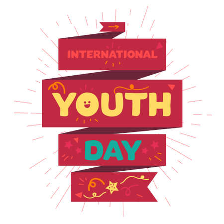 fun day: Vintage template card of International Youth Day for banner, brochure, flyer, greeting, invitation, cover. Design Elements for poster. Vector Illustration
