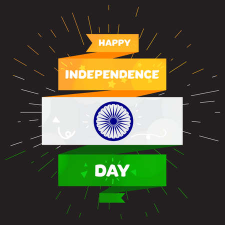 Happy Independence day India Greeting Template with Ashoka wheel. 15th of august. Design elements for print, card, banner, celebration. Vector