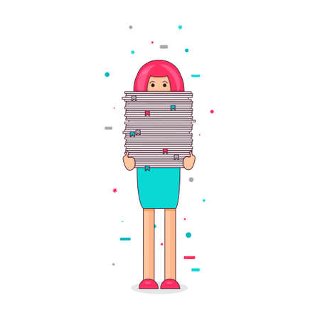 bookkeeper: Office worker with big stack of paper. She has a lot of work. All hands job illustration. Vector