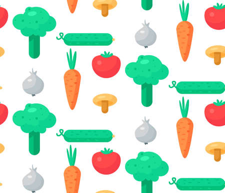 cucumber salad: Fresh Vegetable Salad from tomato, cucumber and cabbage, carrot, mushroom and garlic. Tasty food seamless pattern for print, tablecloth and wrap, fabric, spread, card, banner. Vegan background. Vector