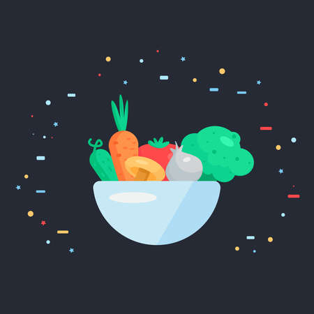 cucumber salad: Fresh Vegetable Salad from tomato, cucumber and cabbage, carrots, mushroom and garlic. Tasty food banner. Vegan sticker. Vector