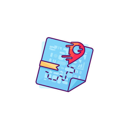 shortest: Liquid Red Pointer on Map. Fast Delivery or the Shortest Route Symbol. Navigation and search of place design. Vector Illustration