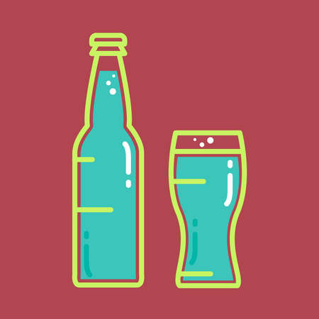 tumbler: Cocktail, cold beer or juice bottle with glass. Alcohol banner with tumbler and beverage . Retro drink sticker. Vintage bar poster. Vector Illustration
