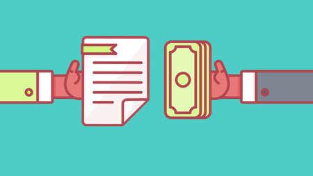 Der Prozess der Zahlung. Mieten, Lohnkosten. Die Löhne und Einkommen. Der Erhalt des Geldes. Icon Vertrag und Zahlung. Der Abschluss des Vertrages. Der Pay-Taste. Vektor Vektorgrafik