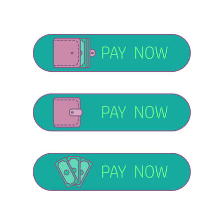 wages: The process of payment. Rent, salary costs. Wages and income. The receipt of money. Icon purse, pocketbook, wallet with money. The conclusion of the contract. The pay button. Vector