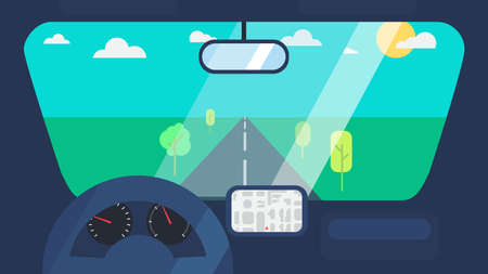 Inside car interior with wheel, speedometer, gps navigator. Vehicle background with view of road in window. Vector Ilustração