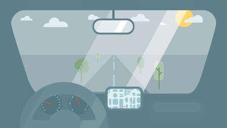 車の中のホイール、スピード メーター、gps ナビゲーター インターします。ビュー ウィンドウでは、道路の車の背景。ベクトル